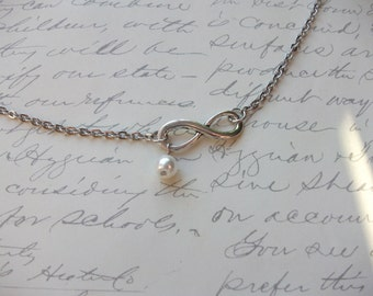 Infinity symbol stainless steel necklace (or anklet/bracelet) with pearl