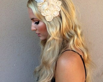 Wedding Headband 1920 Style Great Gatsby Bridal Hair Accessories, Cream Peacock Feather fascinator, 1920s Silver Beaded Feather Fascinator