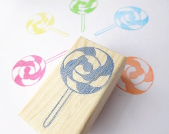 Rubber stamp lollipop, Sweets stamp, Birthday cards, Gift wrapping idea, Christmas cards, Kids toy stamp, Scrapbooking, Japanese stationery