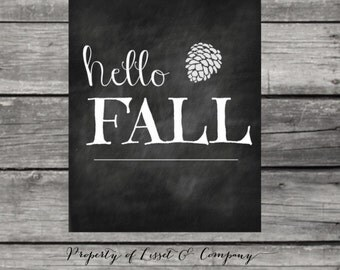 Hello Fall Chalkboard Print Instant Download