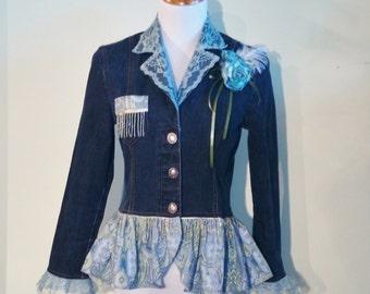 Womens Denim Jacket Refashioned/Upcycled