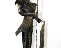 Vintage, Knight, Collectable Souvenir, Conquistador Recycled Can Sculpture. Hand made.