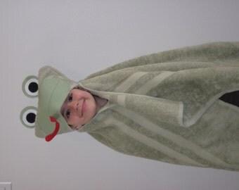 Frog Hooded Towel - sage green frog