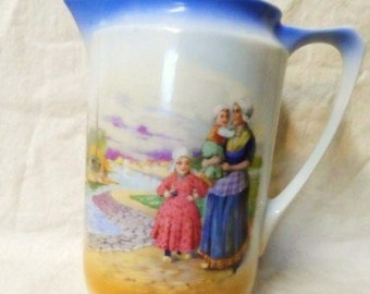 Lovely Old Pitcher Depicting Dutch Family on the Shore- Mother and Children with Wooden Clogs- Gorgeous China Pitcher