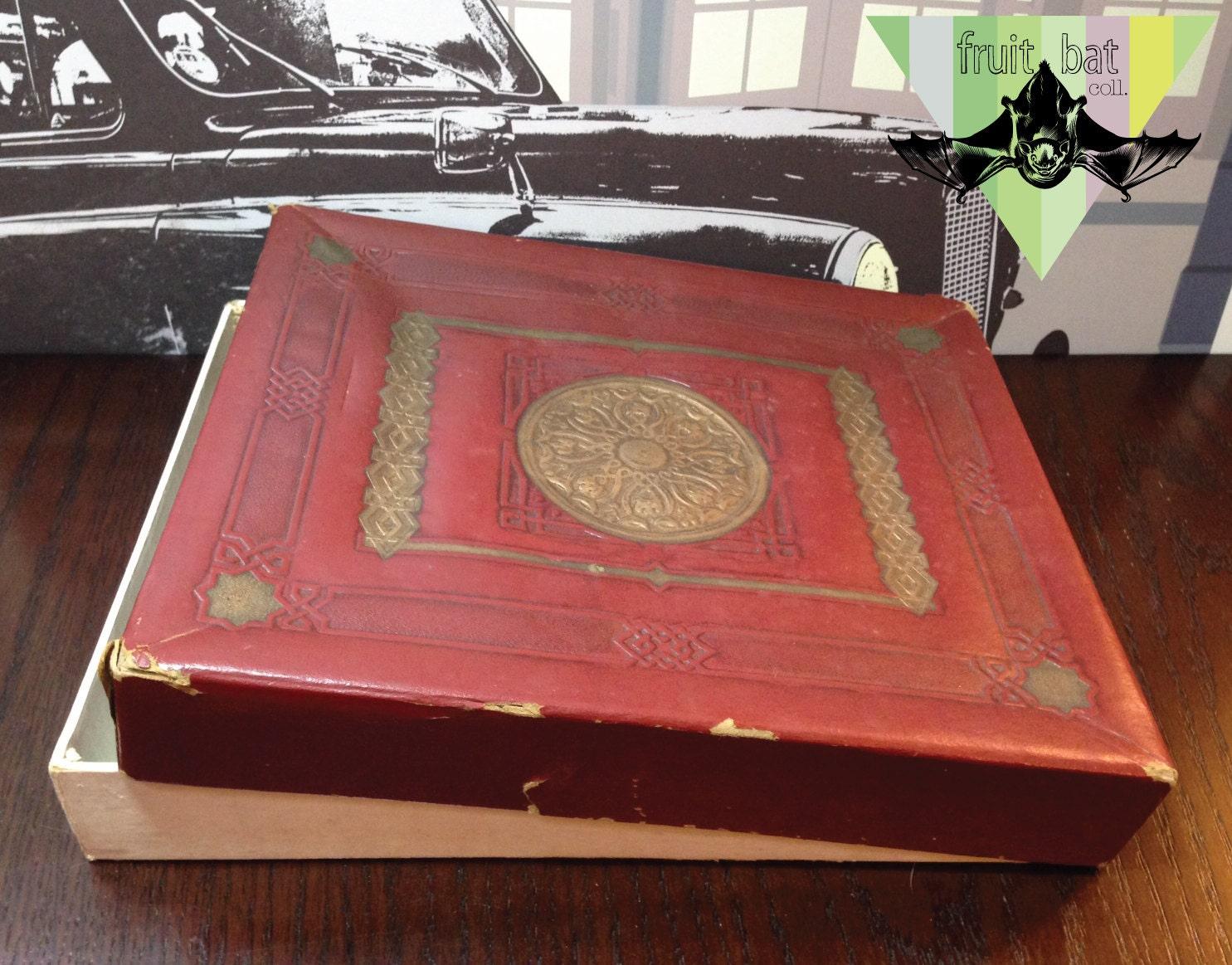 Vintage Antique Burgundy Red Ornate Bronze Gold