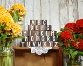 Wooden Nursery Alphabet Blocks | Painted Wooden ABC Letters New Baby Shower Gift Neutral Unisex Boy Girl Handmade the Urban Baby - Set of 26