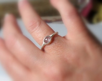 SUMMER CLEARANCE Natural White Sapphire Ring in Sterling Silver, Ready to Ship, Size 7.75, Rose cut, Rustic, low profile