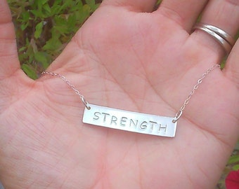 Strength Necklace - Inspirational Gift for Survivor - Fitness Motivation - Hand Stamped - Motivational Birthday Gift -Anniversary for Wife