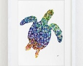 Geometric Sea Turtle Art, Watercolor Painting - 5x7 Archival Print - Nature - Colorful Turtle Silhouette Art, Sea Prints Home Decor, Gifts