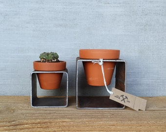 Set of 2 Modern Block Planters - Modern Square Steel Metal Planter w/ Pot - Indoor Outdoor Succulent Garden