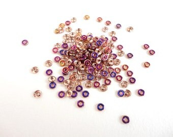 5 grams x 1x4mm Crystal Sliperit Czech Glass O Beads, Rainbow O Beads, Gold O Beads, Crystal Sliperit O Beads  OBD0002