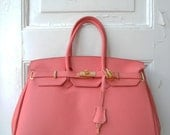 birkin style leather handbag