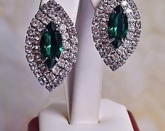 GREEN Marquis with double row clear PIERCED EARRINGS
