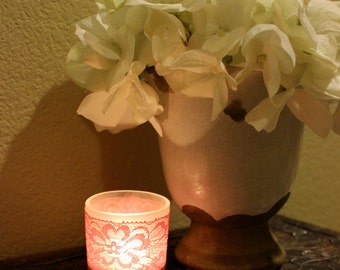 Set of 25 Pink Vintage looking lace votive candle slip cover