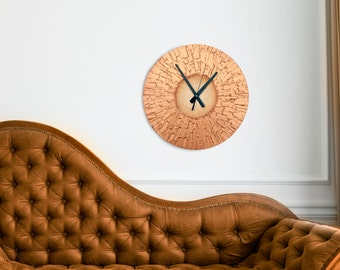 Original Painting  COPPER Home Decor Large WALL CLOCK, unique art clock copper office decor