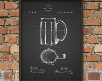 Beer Mug Patent Wall Art Poster