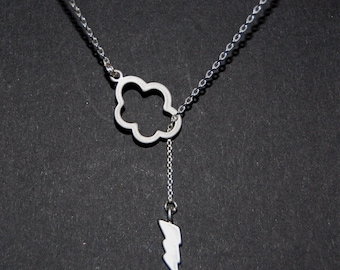 Lariat necklaces, cloud and lighting bolt necklace, Silver cloud necklaces, simple necklaces