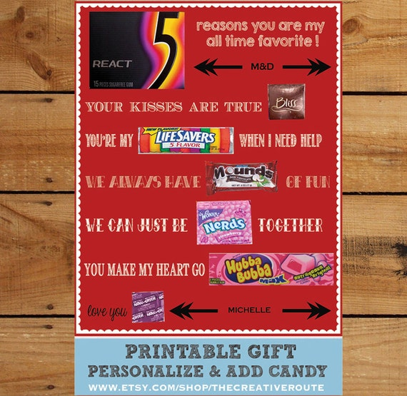 Diy Anniversary Gifts For Husband: Valentine Anniversary Gift DIY Print And Add Candy Editable