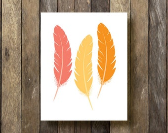 Feathers Printable - Instant Download 8x10