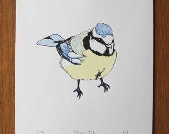 Limited edition blue tit bird screenprint