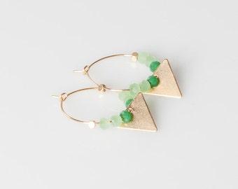 Green and gold geometric hoop earrings, hoop earrings, glassbeads earrings,gift under 25, wedding earrings