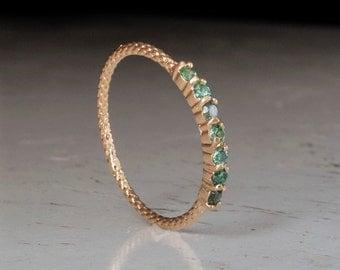 Gold Emerald Ring - Half eternity ring