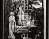 Living Room Scene with Female Statue and Curio Cabinet Black and White Photograph Diorama