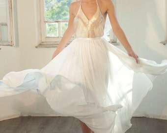 Custom made maxi chiffon wedding skirt ivory/white chiffon skirt with gathering