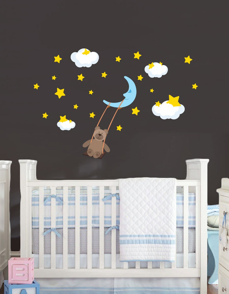 Moon stars and teddy bear wall decal removable reusable for Amazing look with moon and stars wall decals