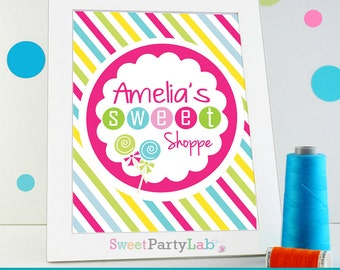 Candyland Party Sign,  Sweet shoppe Party Sign, Personalized  CandyLand  Party Sign, Name Party Sign  PDF Digital D017