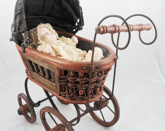 Lovely German Baby Doll Stroller Carriage Buggy Wicker