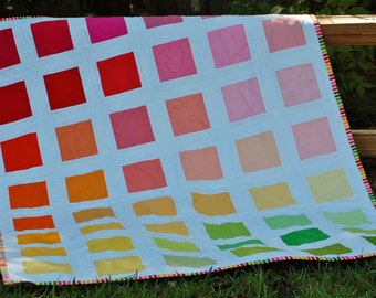 Colorful Pink, Orange, Yellow, and Green Crib or Toddler Quilt for Little Girl
