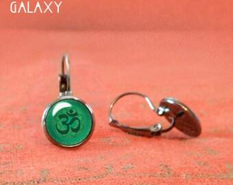 Green Om Earrings, Silver Om Earrings, Glass Dome Earrings, Dangle Leverback earrings