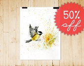 50% OFF sale of ART PRINTS, size A4 Chickadee flight , discounted art/ ready to ship