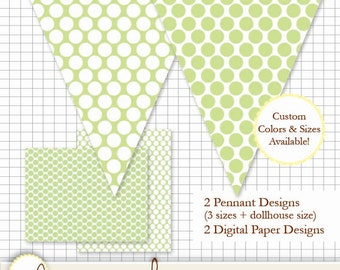 Printable Pennant and Paper Set - Large Dots Light Green - Multiple Sizes and *bonus dollhouse size