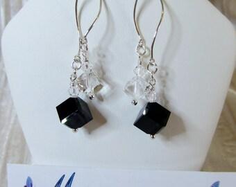 Swarovski black & clear cube crystal earrings