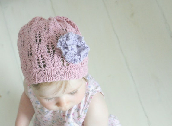 KNITTING PATTERN summer lace beanie hat Carnation with crochet flower (newborn to adult sizes)