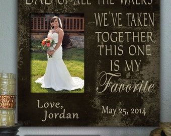 """FAV/DAD:12x12"""", Holds 5x7"""" Photo Father of the Bride Gift Favorite Walk Bridal Wedding Frame Personalized Bridal Frame Wedding Gifts for Dad"""