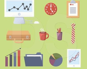 Digital Office Business Clipart, Office Supplies Clip Art, Digital Scrapbook Graphics