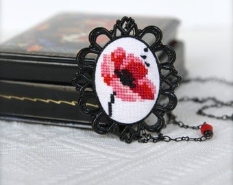 Hand embroidered Poppy necklace in black vintage frame Black and red Flower jewelry Cross stitch necklace Poppy pendant Red poppy For mom