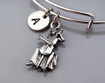 Cello bangle, cello player, cellist, string instrument, Music charm, Musician, Expandable bangle, Charm bangle, Monogram, Initial bracelet