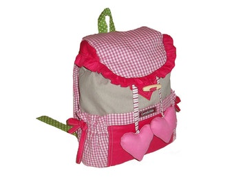 Kids backpack loop bag kindergarten bag, personalized, backpack with loops and heart for dreamy girl in pink and grey