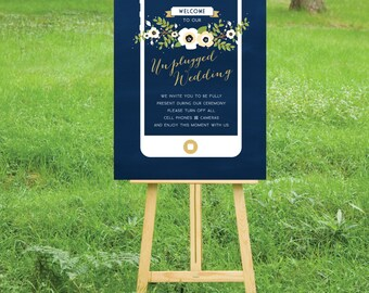 Unplugged iPhone Chalkboard Gold & Navy Wedding Sign . PRINT or PDF, Shipping Included. No cameras Poster . Vintage Floral Wedding Custom
