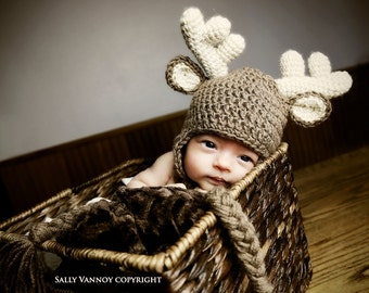 Newborn Crochet Deer Hat,  Baby Animal Hat, Photo Prop