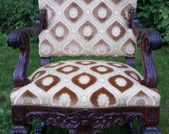 Heavily Carved Mahogany Wood King Chair
