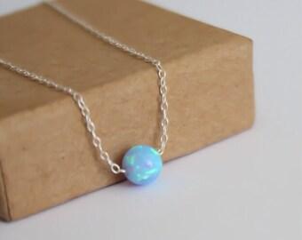 Opal necklace, opal ball necklace, opal silver necklace, opal jewelry, tiny dot necklace, opal bead necklace, dot necklace, blue opal