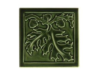 Red Oak Leaf Art tile