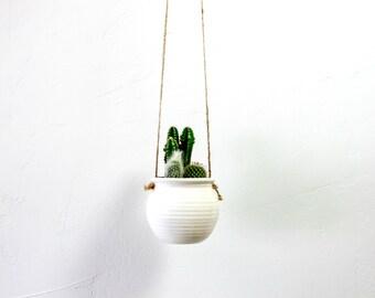 Hanging Cactus Planter White pottery