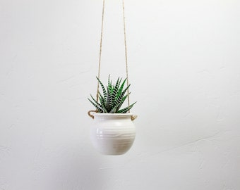 Hanging Succulent Planter White Pottery Super White