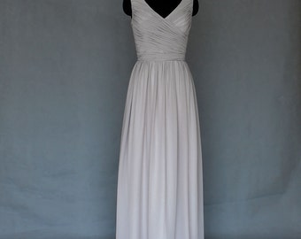 Silver/Grey Bridesmaid Dress Long Bridesmaid Dress Long Convertible V-Neck Bridesmaid Dress